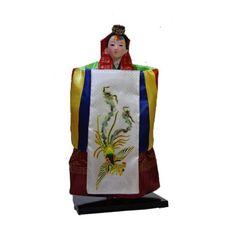 Vintage Koreans Humanoid Girl statue Doll Geisha Court dress Hanbok Car decor