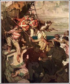 'Tom Cringle's Log' Illustration by Mead Schaeffer    Pirates, and Soldiers, Ship,    http://3.bp.blogspot.com/-x52G-zlH8jQ/UKmvA8dRxBI/AAAAAAAB7-w/6rU4TlS67hc/s1600/08_tomcringles_schaeffer_werefighting.jpg
