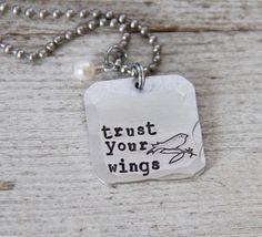 Trust Your Wings necklace.  Graduation Gift Idea. $27