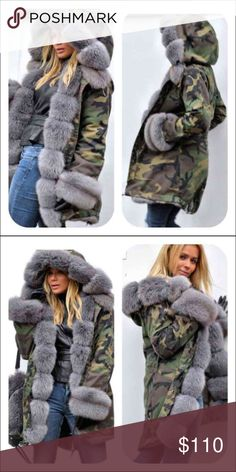 Gray Faux Fur & Camo Fishtail Parka Jacket NEW This amazing coat gets compliments every time I wear mine. Stand out from the crowd! Green camo with gray faux fur trim. Super warm and cozy. Attached hood, slight fishtail in back, side pockets. Jackets & Coats