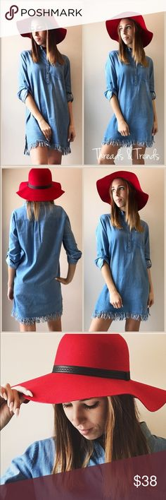 Denim Shirt Dress Lightweight denim shirt dress with henley style button down front. Worn as long sleeve or rolled up. Featuring a unique frayed hemline. Perfect go to casual dress. Made of cotton. Size S, M, L Dresses