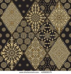 Vector seamless patchwork pattern from black and gold oriental ornaments, rhombus rosette, stylized golden flower, star, snowflake. Geometrical textile print, pillow embroidery. Art deco wallpaper
