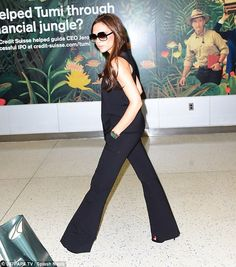 Elegant arrival: The brunette had arrived in New York via JFK Airport only hours before