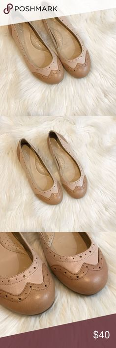 GH Bass Wingtip Flats Adorable wingtip flats by GH Bass. Two toned leather uppers.  In great used condition. Some small spots on leather, not too noticeable, see photos. Very little wear to bottom soles. Size 7. Bass Shoes Flats & Loafers