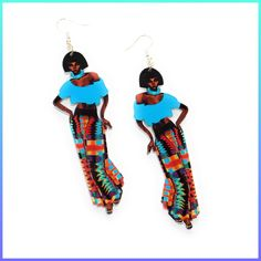 African Ethnic Woman Wooden Earrings Fabric Earrings, Wooden Earrings, Women's Earrings, African Girl, African Women, African Fashion, Handmade Keychains, Black Chicks, African Necklace