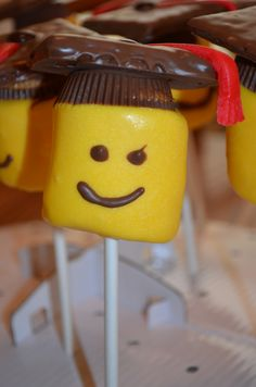 Graduation Lego S'More pops. I made them for an 8th grade guy, but they are good for ANY age!