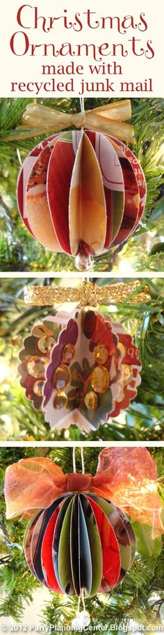 Free tutorial to make three styles of recycled junk mail Christmas ornaments