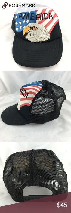 45662450d52 Vintage trucker hat America bald eagle 1970s cap Vintage 1970s men s trucker  hat