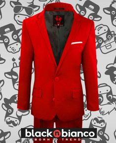 f2d400769 Black n Bianco Boys First Class Red Slim Fit Suit for Boys. Curated with a