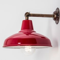 Maria Banjo Industrial Wall Light with Red Shade - The Wall Lighting Company Ltd