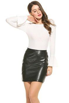 Zeagoo Women Basic Versatile Faux Leather Bodycon High Waisted Pencil  Skirts Black M at Amazon Women s eb24430e6