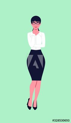 Business woman with glasses thinks standing with her hand to her face. - Buy this stock vector and explore similar vectors at Adobe Stock Womens Glasses, Color Palettes, Business Women, Adobe, Vectors, Design Inspiration, Explore, Flat, Woman