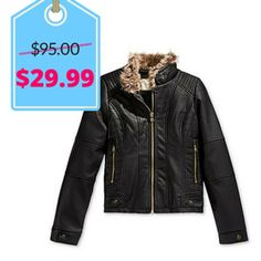 Jessica Simpson Girls' Faux-Leather Jacket | Black Friday Kids Clothing Deals