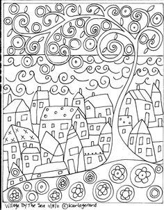 RUG HOOK PAPER PATTERN Village By The Sea ABSTRACT FOLK ART PRIMITIVE - Karla G | eBay