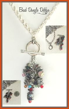 Frosted Pewter Swarovski Crystal Beaded Pendant Necklace #236
