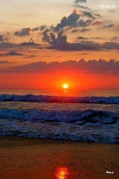 Sun Rise On Sea Shore Natural Hd Wallpaper