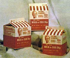 Kentucky Fried Chicken Milk-n-Egg Dip, 1974 Chicken Boxes, Chicken Milk, Chicken Eggs, Fried Chicken, Baked Ravioli Casserole, Ravioli Bake, Classic Restaurant, Vintage Restaurant, Kentucky Fried