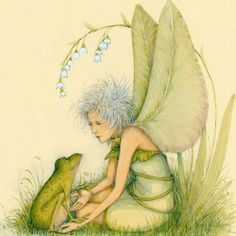 Patience Brewster • Green fairy shaking hands with frog.