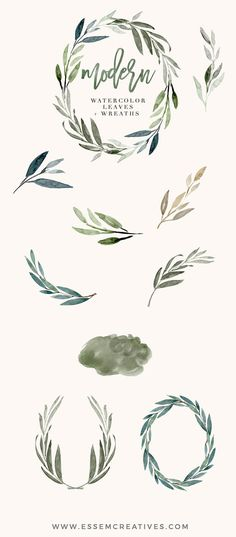 Watercolor Leaves Clipart Modern Leaf Wreath Green Branch
