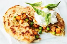 This Indian flatbread can be stuffed with leftovers for a quick vegie dinner or side that's as easy as raiding your fridge and cupboards. Great Vegetarian Meals, Vegetarian Recipes, Veg Recipes, Almond Recipes, Sweet Potato Patties, Yummy Snacks, Savory Snacks, Sweet Chilli Sauce, Fruit And Veg