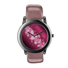 Girly Pink Abstract Circle Watch