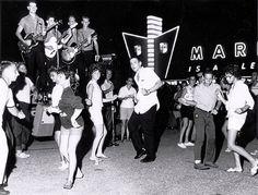 Dancing in the street, Palm Springs, 1950s.