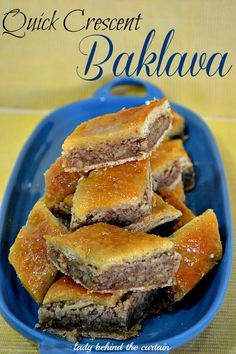 Quick Crescent Roll Baklava Recipe...I love the original, but for a quick fix for that holiday party-  this looks good!