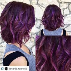 New Hair Color Dark Purple Haircuts Ideas Hair Tips Dyed Purple, Dark Purple Hair, Hair Dye Tips, Dyed Hair, Purple Tips, Purple Pixie, Dusty Purple, Brown Hair Purple Highlights, Curly Purple Hair