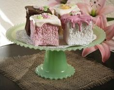Sea Green Beaded Glass Cake Stand  I want this!