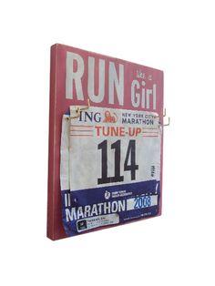 Race Bibs Hanger: run like a girl. $28.00, via Etsy. Yule present to myself I think.