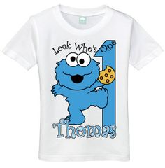 Boys 1 Year Old Look Whos One Cookie Monster 1st Birthday Tee Shirt