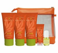 California Mango to Go Travel Kit Extra Dry Skin Exfoliating Scrub, Cuticle Oil, Cleansing Gel, Travel Kits, Dry Skin, Mango, California, Manga, Exfoliators