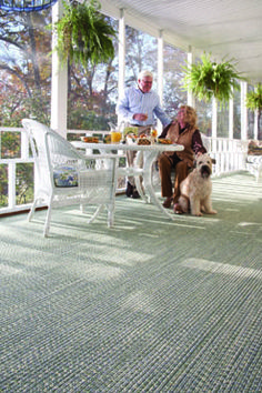 Woodrun Rug in Spa is a braided rug and a perfect addition for any porch space! #CapelRugs