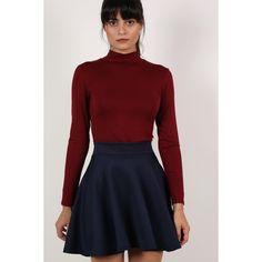 Pilot Scuba Skater Skirt (510 MXN) ❤ liked on Polyvore featuring skirts, navy blue, red flare skirt, navy circle skirt, pin skirt, navy blue skater skirt and circle skirt