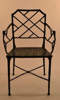 Set of Six Brown Jordan Cast Aluminum Faux Bamboo Dining Chairs image 5