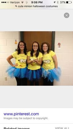 Minions costume for halloween for our three girls (ages Cameron-Hollyer Williams Minion Halloween Costumes, Homemade Minion Costumes, Cute Costumes, Halloween Kostüm, Holidays Halloween, Costume Ideas, Homemade Halloween, Book Characters Dress Up, Book Character Day
