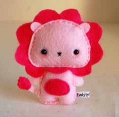 Pink Baby Lion Felt Plush by twistyfishies - could stand in for Steven Universe's Lion!