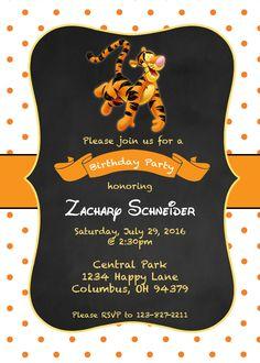 Pooh tigger birthday invitation 2nd bday ideas pinterest tigger birthday invitation filmwisefo Gallery