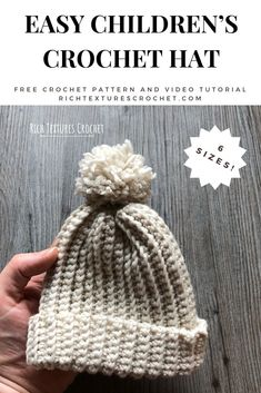 Welcome to Rich Textures Crochet! Today we are going to learn how to crochet this easy children's crochet hat! It is worked with a magic ring closure. Childrens Crochet Hats, Crochet Baby Hats, Knit Or Crochet, Learn To Crochet, Free Crochet, Easy Crochet Hat, Crocheted Hats, Booties Crochet, Crochet Beanie Pattern
