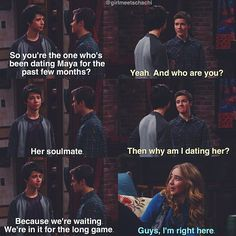 I'm seriously hoping that lucas and maya are dating or at least a thing so when Josh comes he gets all jealous and protective and he finally realizes he's actually in love with her. Then Lucas can finally be with Riley! Tv Quotes, Funny Quotes, Funny Memes, Hilarious, Disney Channel Shows, Disney Shows, Cory And Topanga, Uriah, Old Disney
