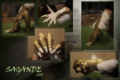 Pretty much perfect - exchange the fur for feathers; possibly cut palms and fingers open for actual skin (grip). (GoldFur Dragon Gloves by SagandeTeam on deviantART)