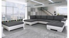 BMF Tokio Maxi WHITE GREY Corner Sofa Bed with POUF - Faux Leather/Fabric Left Facing GOOD PRICE !!!