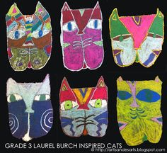 Laurel Burch inspired cats - start with a large W and fill in the details...