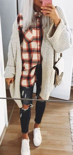 #Winter #Outfits / Plaid Flannel Shirt + Oversized Knit Cardigan
