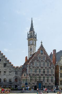 Ghent (Graslei), Belgium, with the Cooremetershuys (wide gabled house)