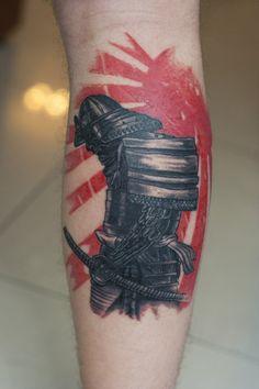 Sun Set Samurai japanese tattoo on Hand