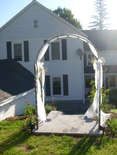 The archway where the wedding party will walk through during their introductions at the wedding reception at The Alpine Homestead in the Adirondacks in upstate NY Homesteading, Special Events, Wedding Reception, Arch, Mint, Outdoor Structures, Garden, Black, Marriage Reception