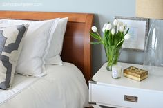 Simple is best for bedside tables.