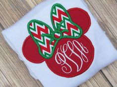 Girls Personalized Christmas Chevron Minnie Mouse by JustForMEToo, $22.00