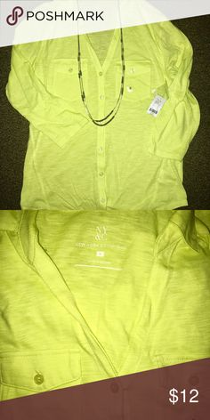 New York and company button up NWT Never worn! Yellow green soft button up! Cute and fun color. Has tag and button. 3/4 length sleeve. Has collar. 100% cotton. Very comfy. Not too tight. Clean and pet free home. Smoke free. New York & Company Tops Blouses
